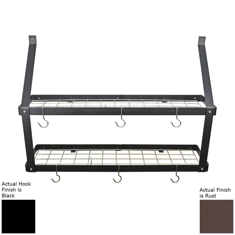 Rogar International 35-in x 8.5-in Rust Finish Double Shelf Pot Rack