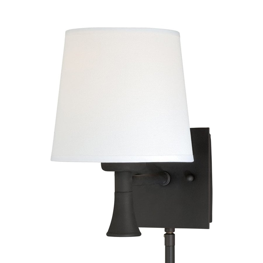 Plug In Wall Sconces At Lowes : Shop Cascadia Lighting Chapeau 6.25-in W 1-Light New bronze Arm/Plug-in Wall Sconce at Lowes.com