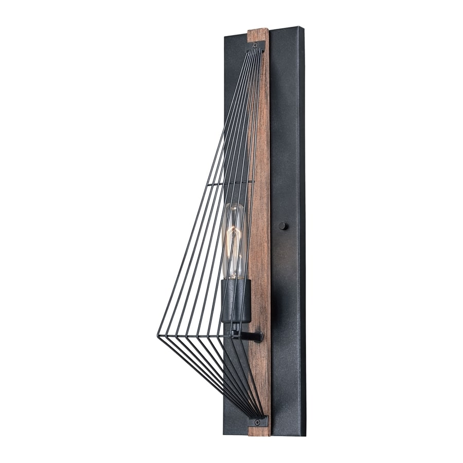 Cascadia Lighting Dearborn 4.5-in W 1-Light Black with burnished wood Arm Wall Sconce