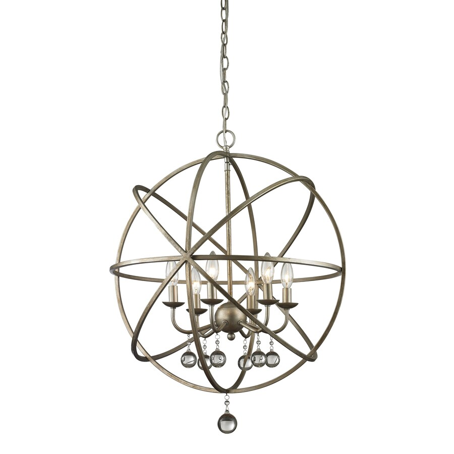 Z-Lite Acadia 24-in 6-Light Antique silver Novelty Globe Chandelier