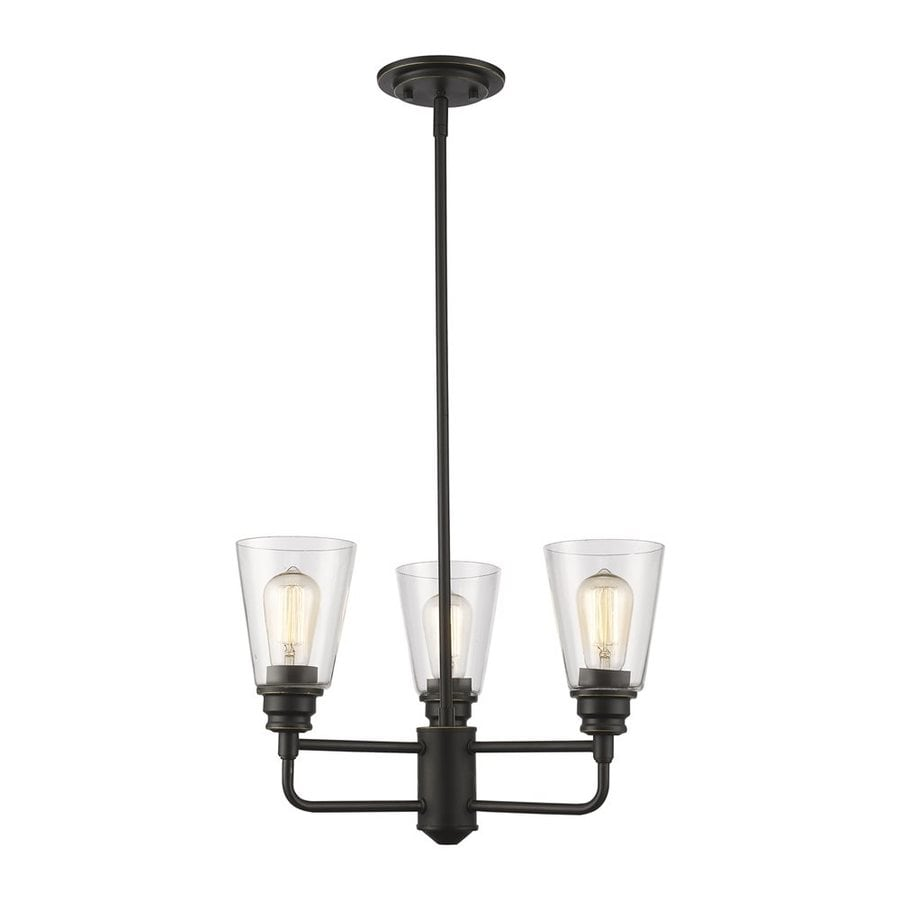 Z-Lite Annora 19-in 3-Light Olde bronze Clear Glass Shaded Chandelier