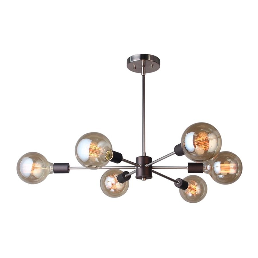 Woodbridge Lighting Ethan 31.5-in 6-Light Brushed brass/bronze Industrial Abstract Chandelier