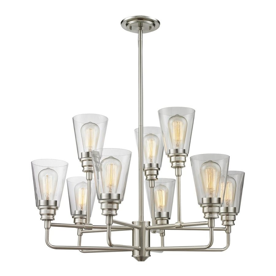 Z-Lite Annora 29-in 9-Light Brushed nickel Clear Glass Shaded Chandelier
