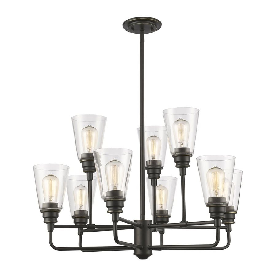 Z-Lite Annora 29-in 9-Light Olde bronze Clear Glass Shaded Chandelier