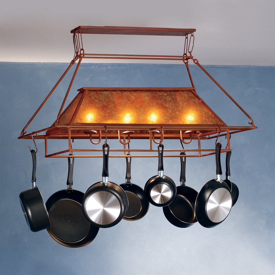 Meyda Tiffany Mission Prime 16-in W 2-Light Amber Mica Lighted Pot Rack with Shade