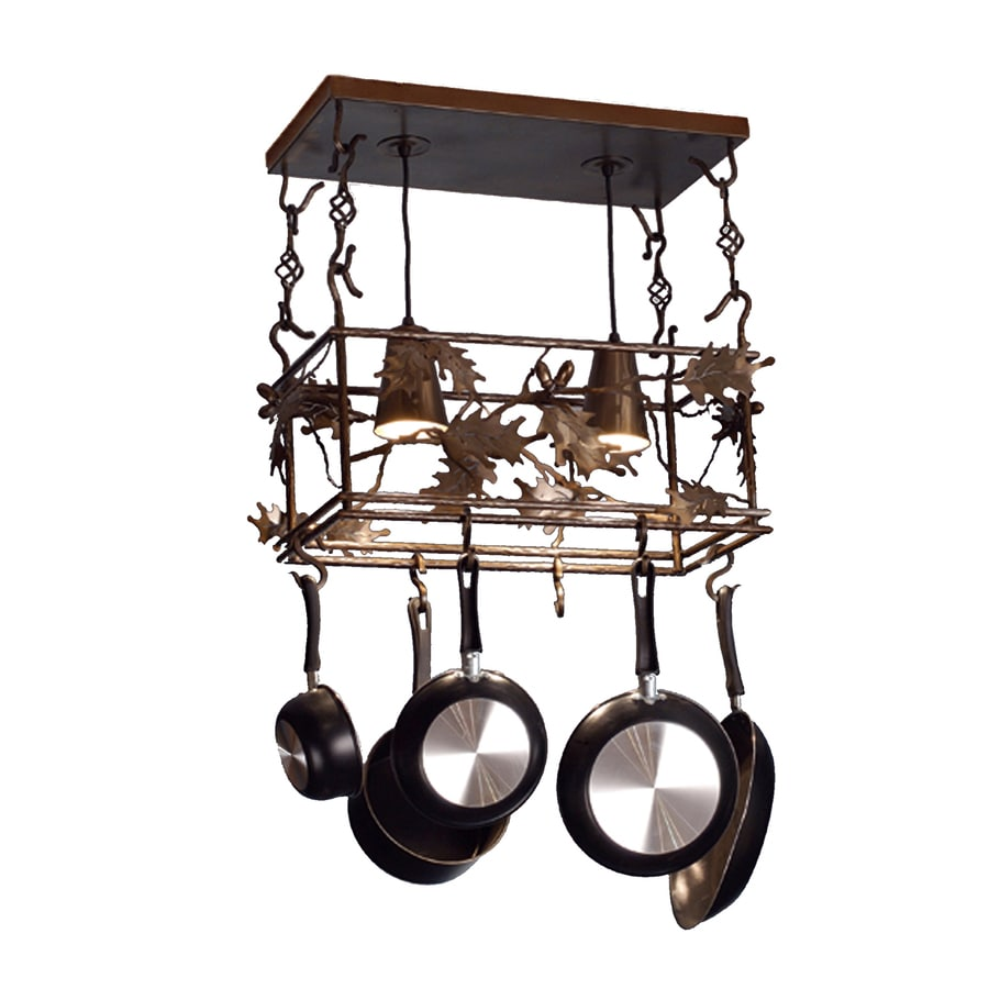 Meyda Tiffany Oak Leaf and Acorn 24-in W 2-Light Antique Copper Lighted Pot Rack with Metal Shade
