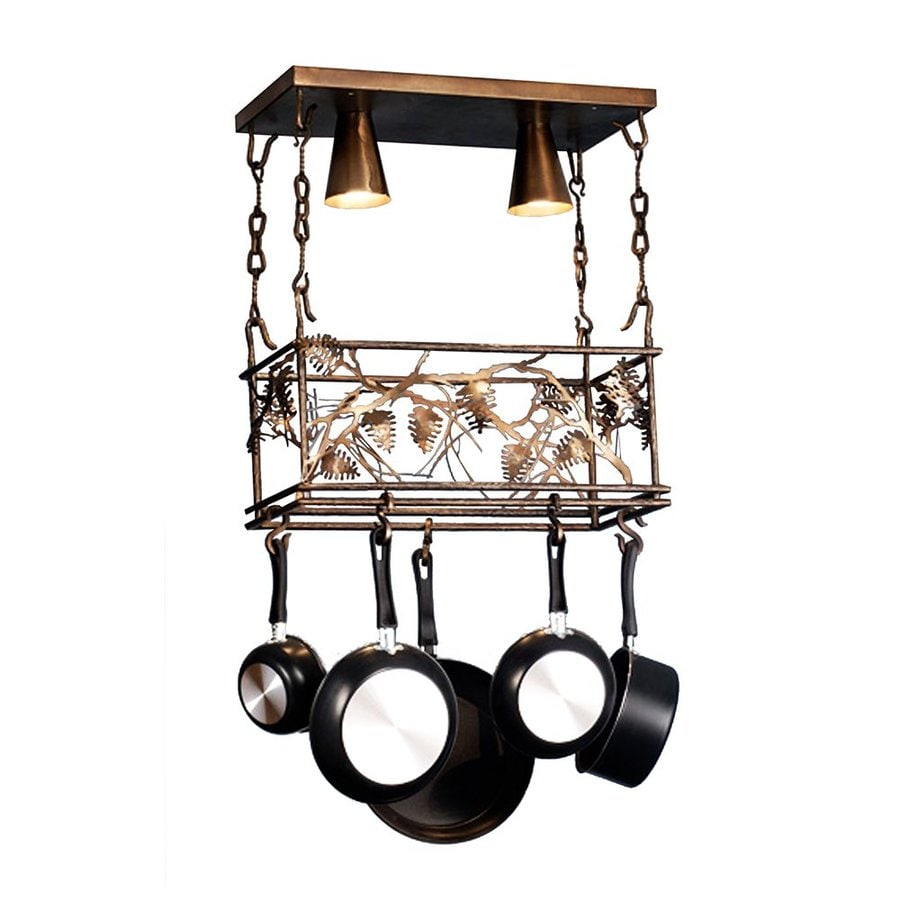 Meyda Tiffany Whispering Pines 11.5-in W 2-Light Antique Copper Lighted Pot Rack with Metal Shade