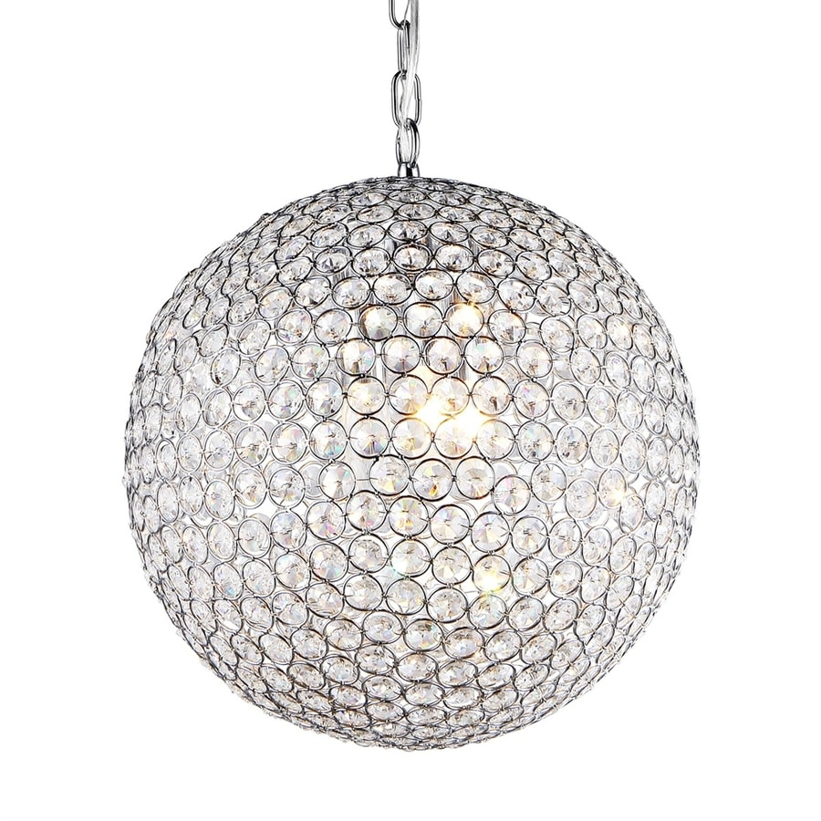 Warehouse of Tiffany Jasmine 16-in 2-Light Chrome Crystal Crystal Globe Chandelier