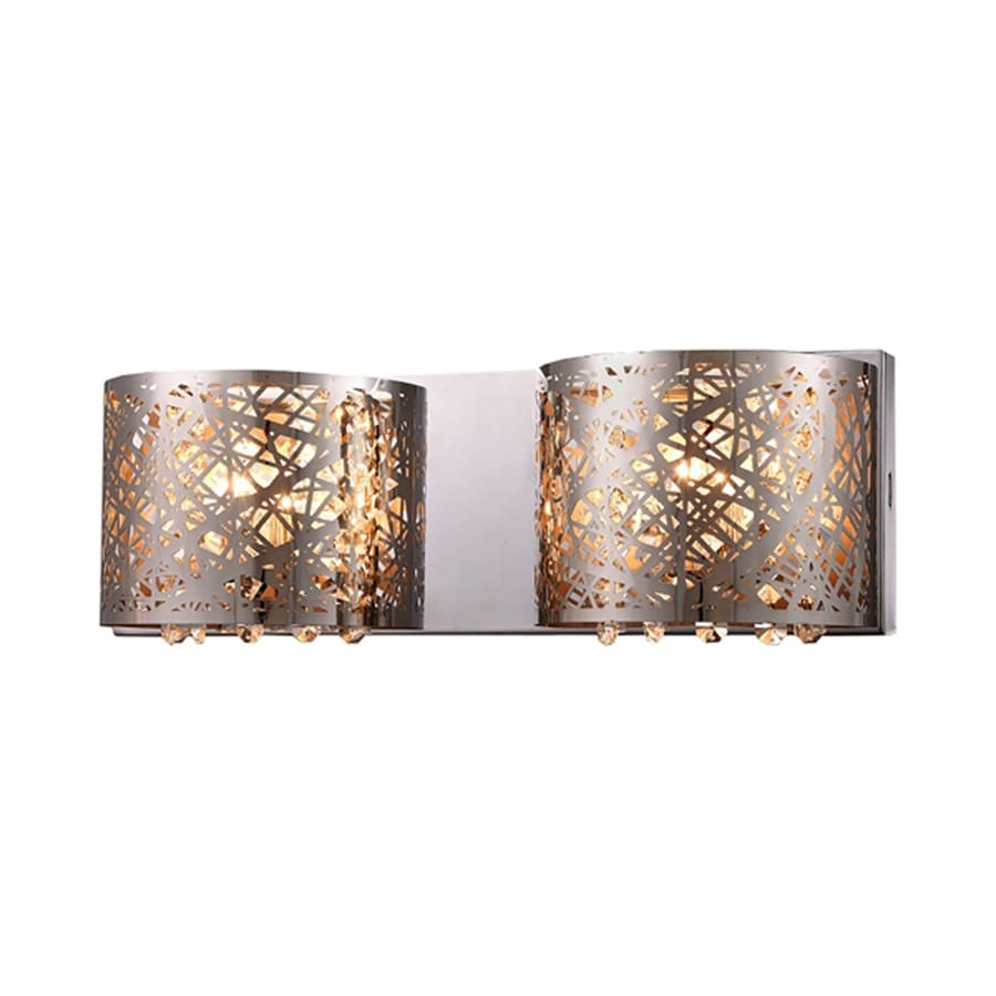 Lowes Tiffany Wall Sconces : Shop Warehouse of Tiffany Aubrey 16-in W 2-Light Chrome Pocket Wall Sconce at Lowes.com