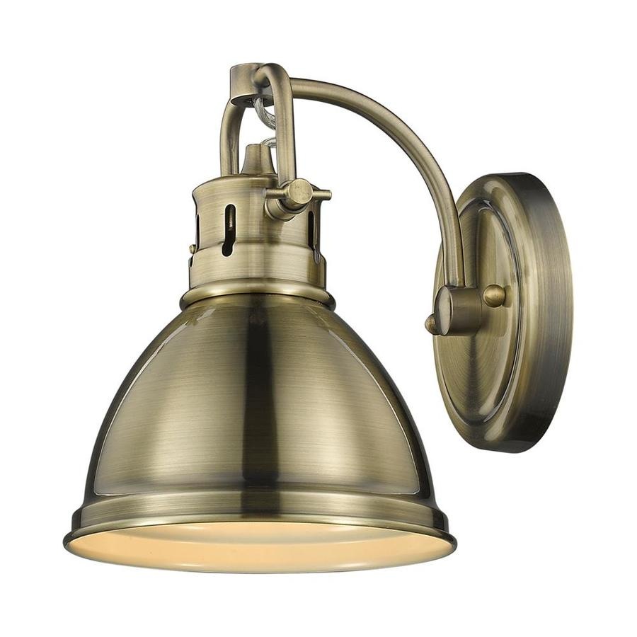 Golden Lighting Duncan 6.5-in W 1-Light Aged Brass Vintage Arm Wall Sconce