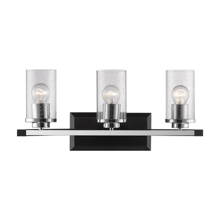 black bathroom vanity light shop golden lighting mercer 3 light 22 in black cylinder 17386