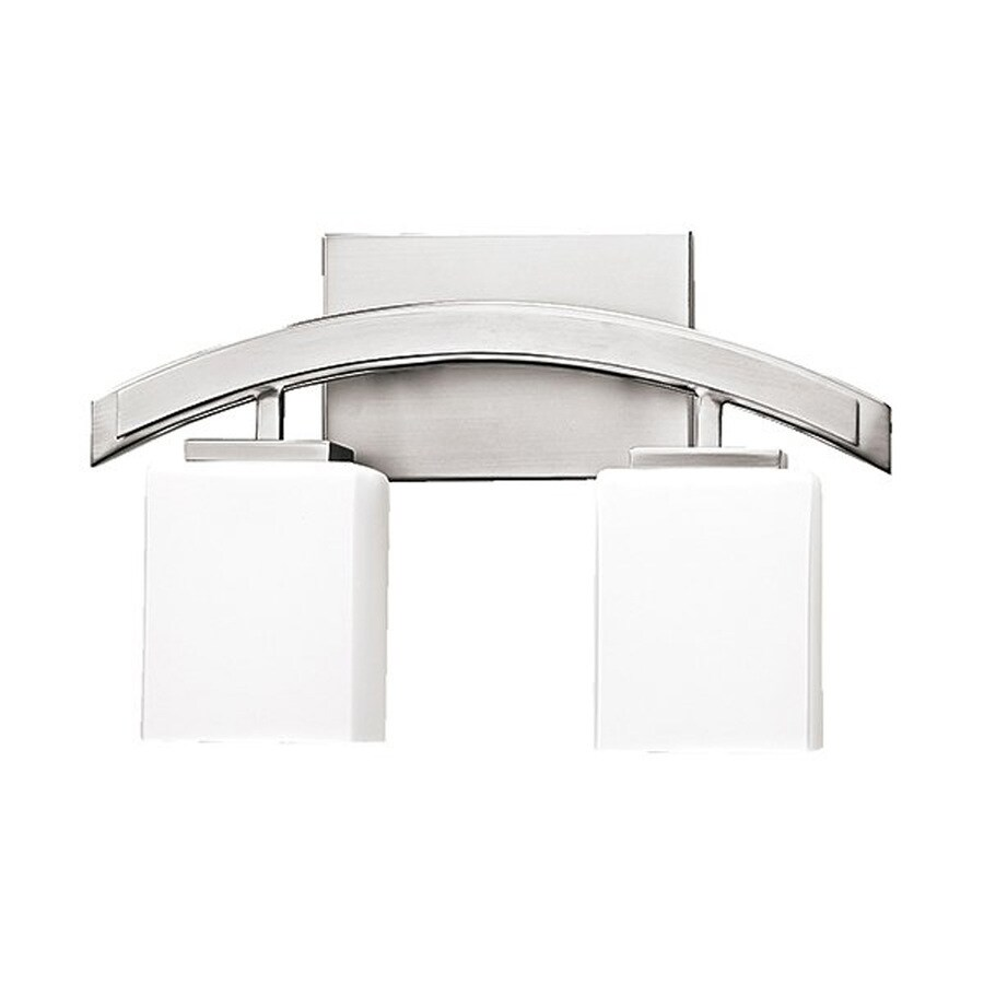 Russell Lighting Crafton 2-Light 9.75-in Brushed Chrome Rectangle Vanity Light