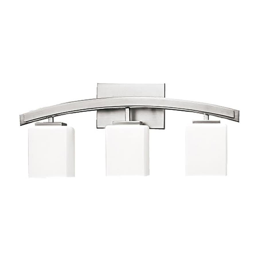 Russell Lighting Crafton 3-Light 9.75-in Brushed Chrome Rectangle Vanity Light