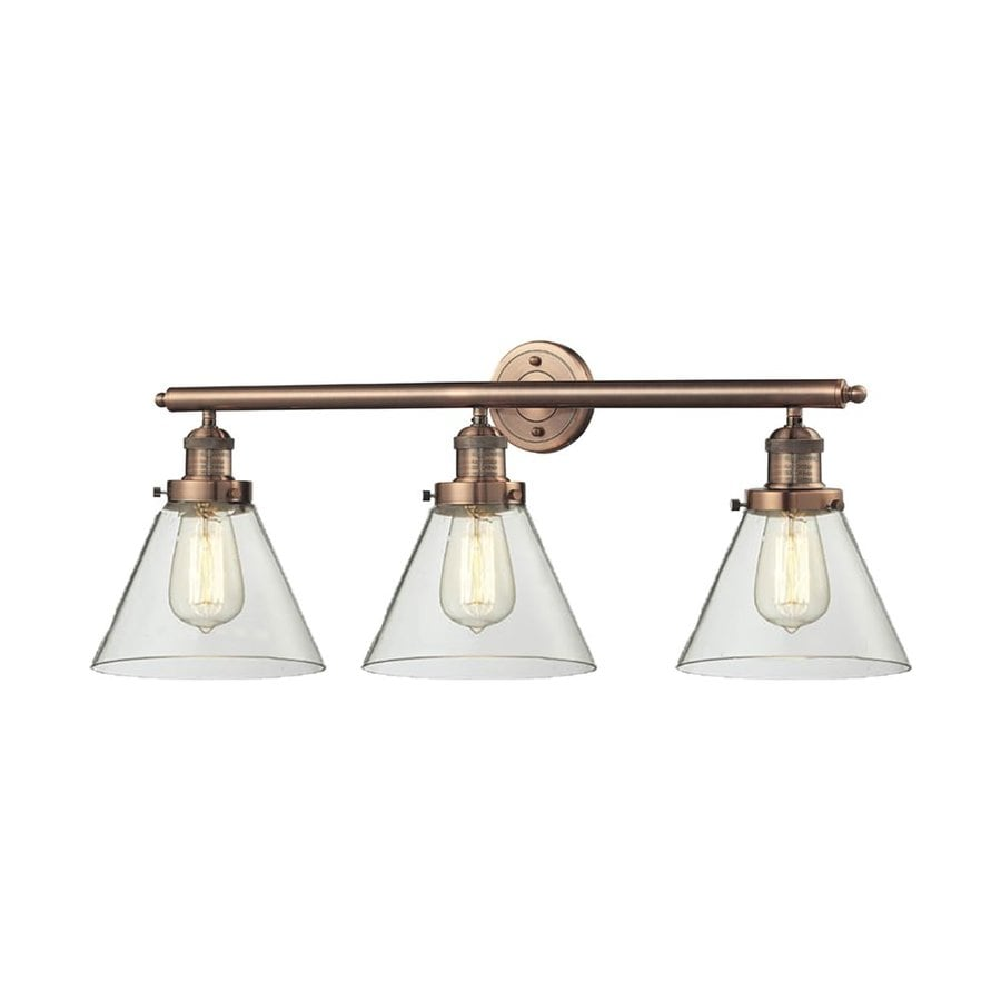 Innovations Lighting 3-Light 11-in Antique Copper Cone Vanity Light Bar