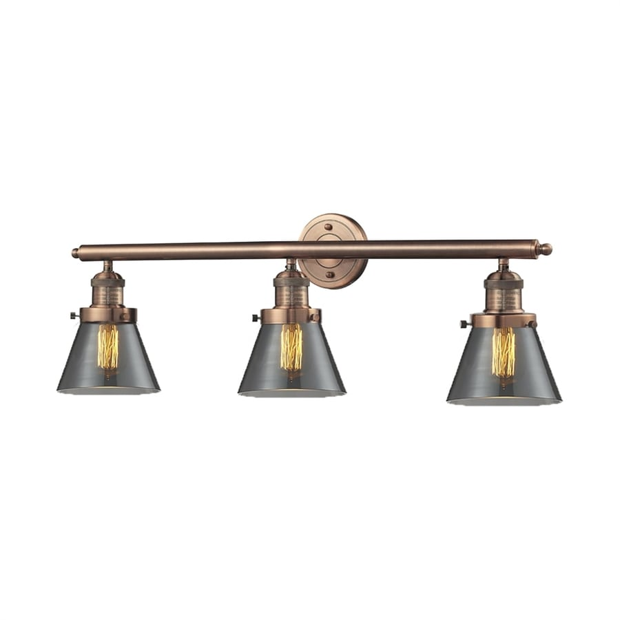 Vanity Light Bar Installation : Shop Innovations Lighting 3-Light 11-in Antique Copper Cone Vanity Light Bar at Lowes.com