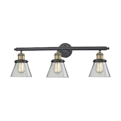 newest c76e4 1ddbe Innovations Lighting 3-Light 30-in Brushed Black Brass Cone ...
