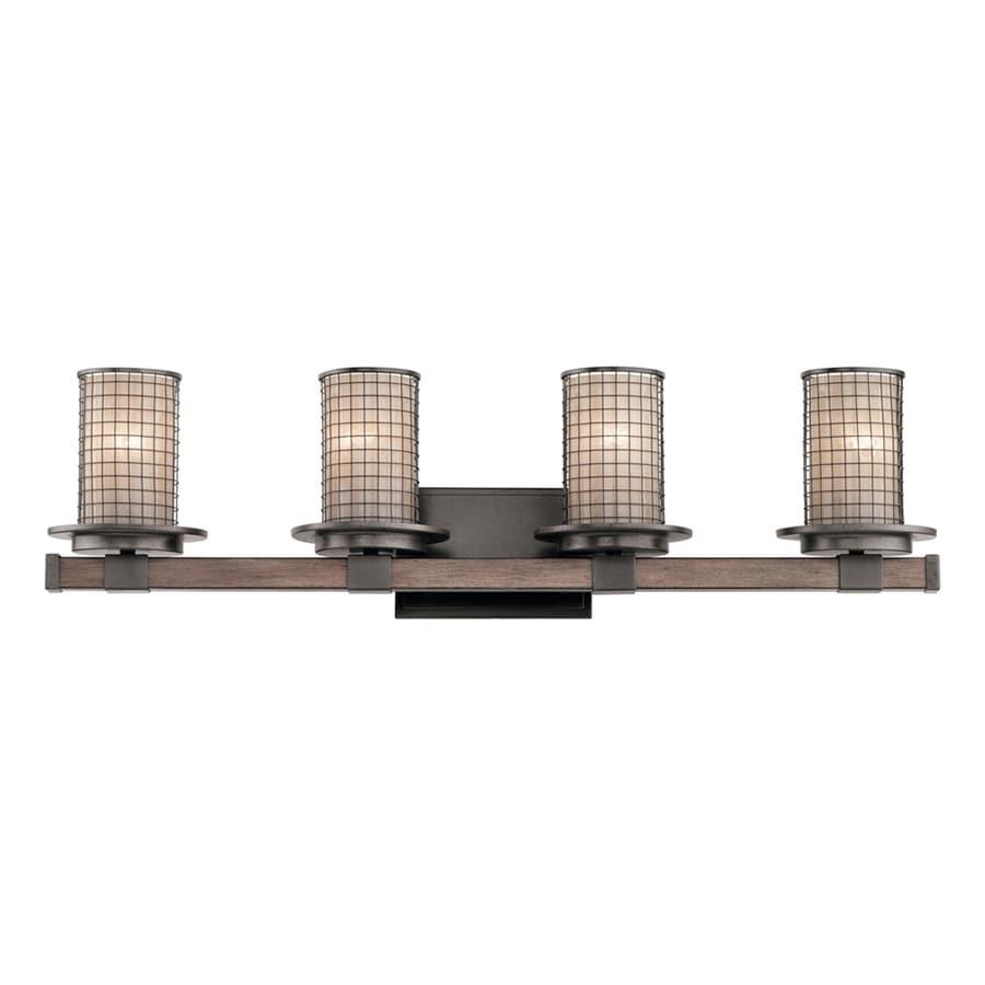 Kichler Ahrendale 4-Light 8.75-in Anvil Iron Cylinder Vanity Light Bar