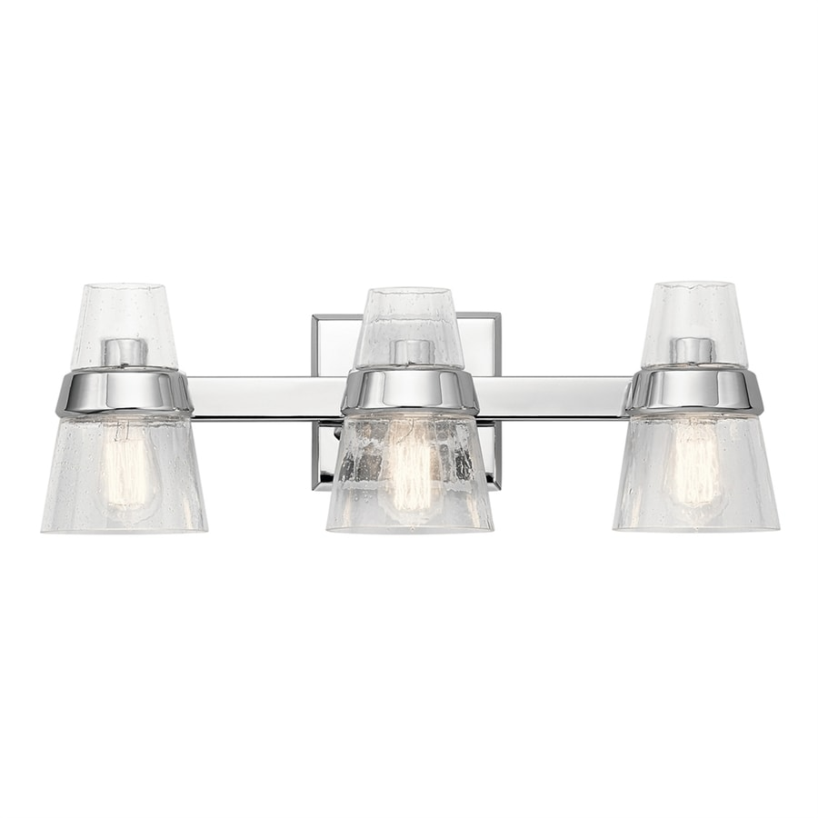 Kichler Vanity Lights Lowes : Shop Kichler Reese 3-Light 8-in Chrome Cone Vanity Light Bar at Lowes.com