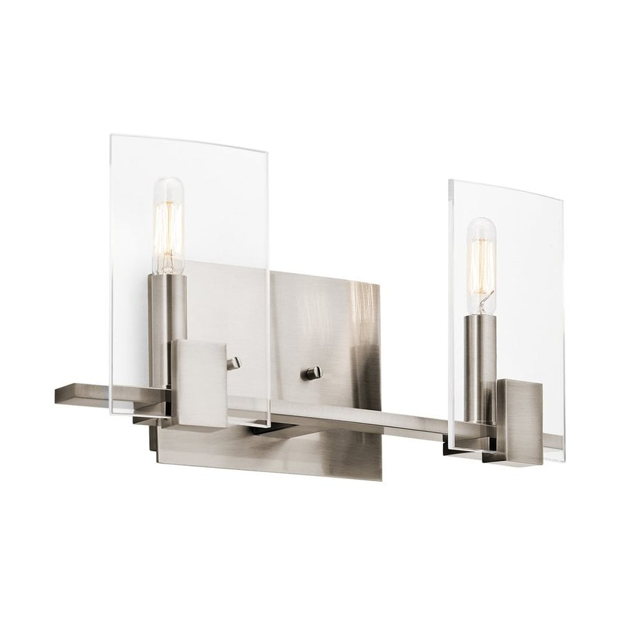 Replace Vanity Light Bar With Two Lights : Shop Kichler Signata 2-Light 7.5-in Classic Pewter Geometric Vanity Light Bar at Lowes.com