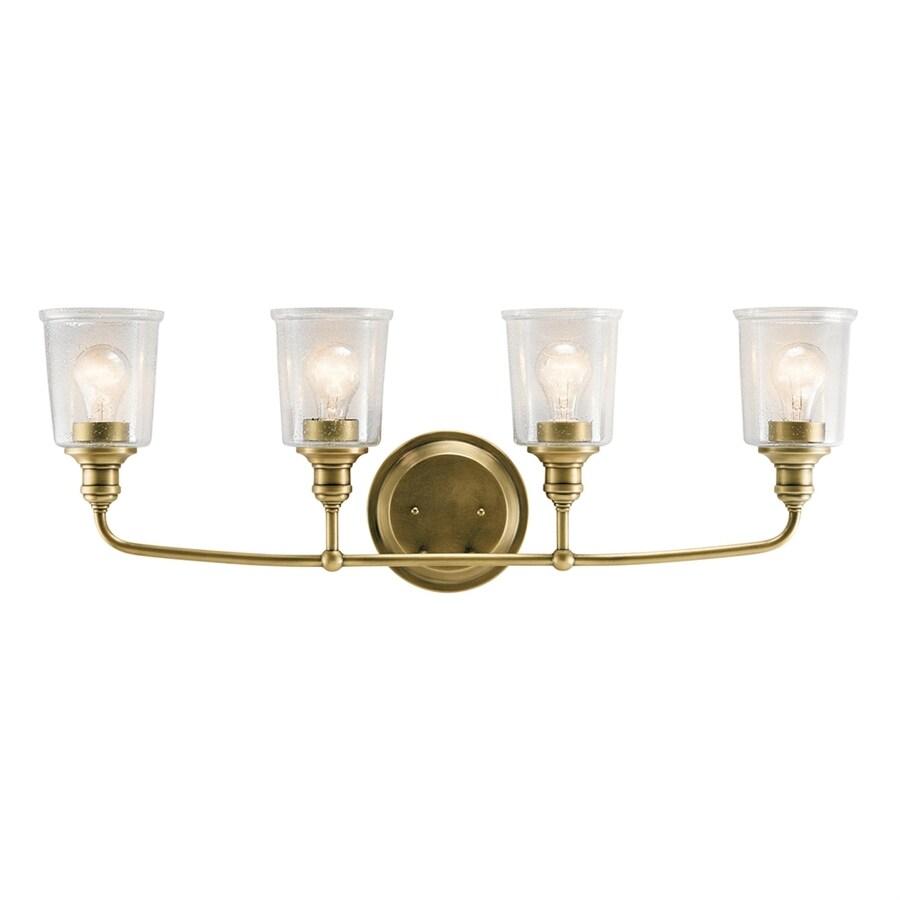 Kichler Waverly 4-Light 11.75-in Natural Brass Cylinder Vanity Light Bar
