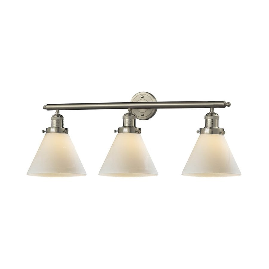 Vanity Light Bar Installation : Shop Innovations Lighting 3-Light 11-in Satin Nickel Cone Vanity Light Bar at Lowes.com
