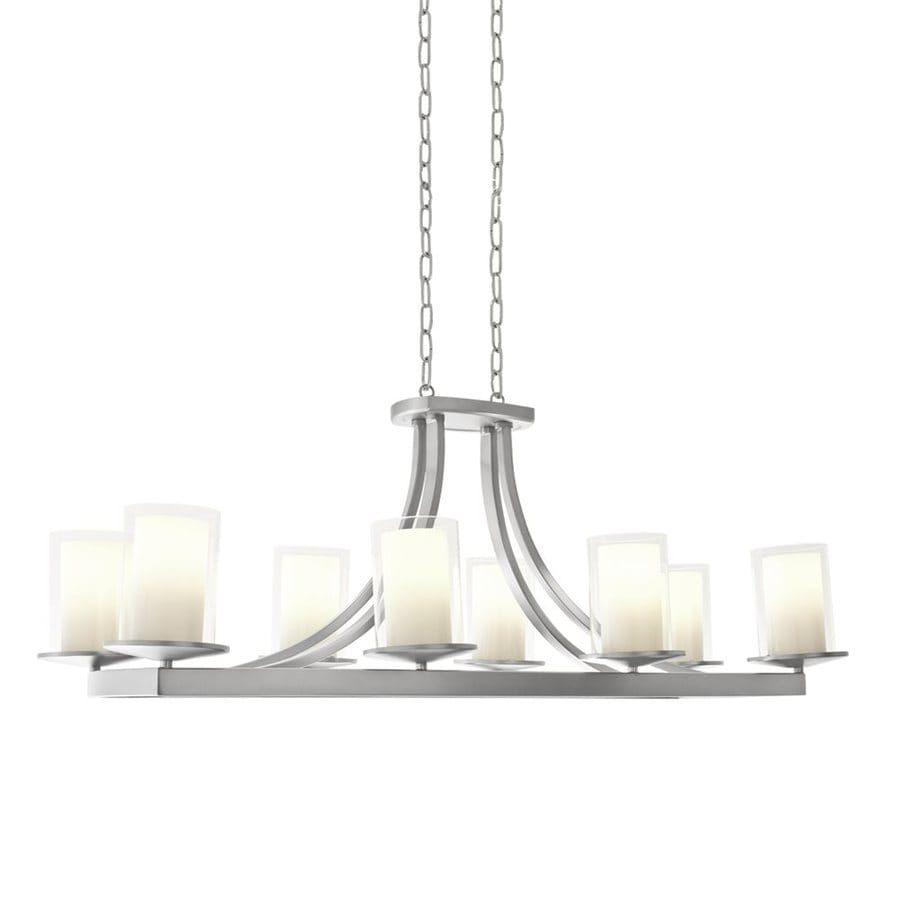 DVI Essex 39-in 8-Light Chrome Wrought Iron Clear Glass Shaded Chandelier