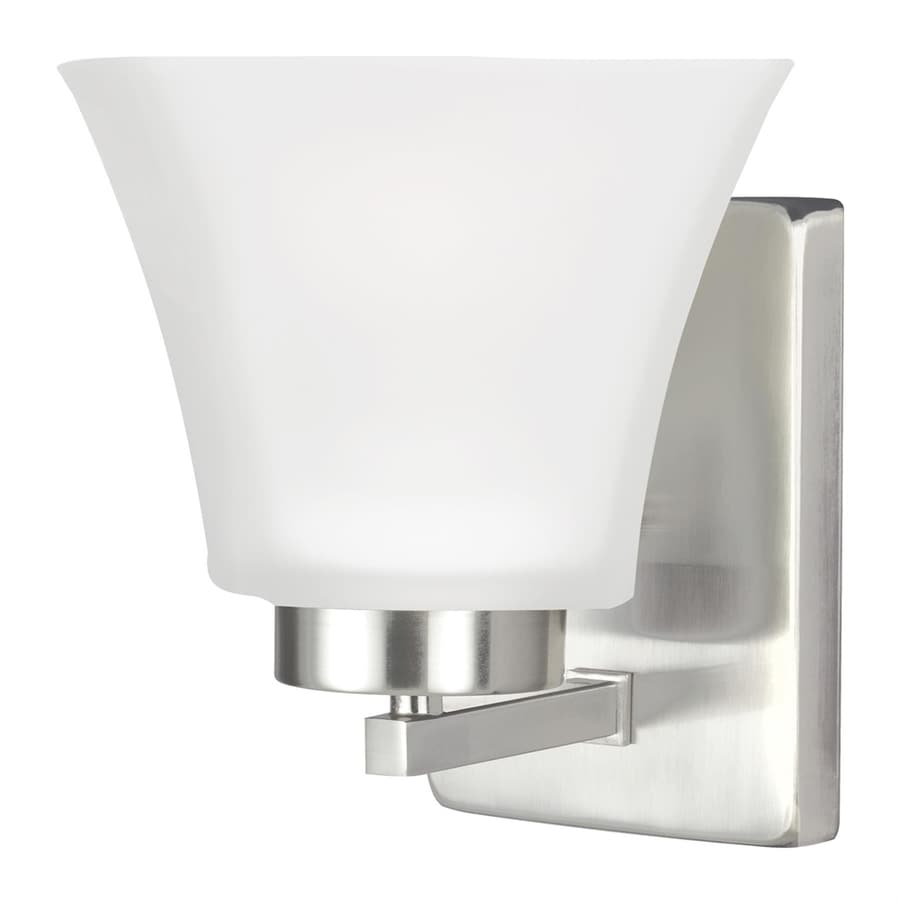 Sea Gull Lighting Bayfield 5-in W 1-Light Brushed Nickel Arm Wall Sconce
