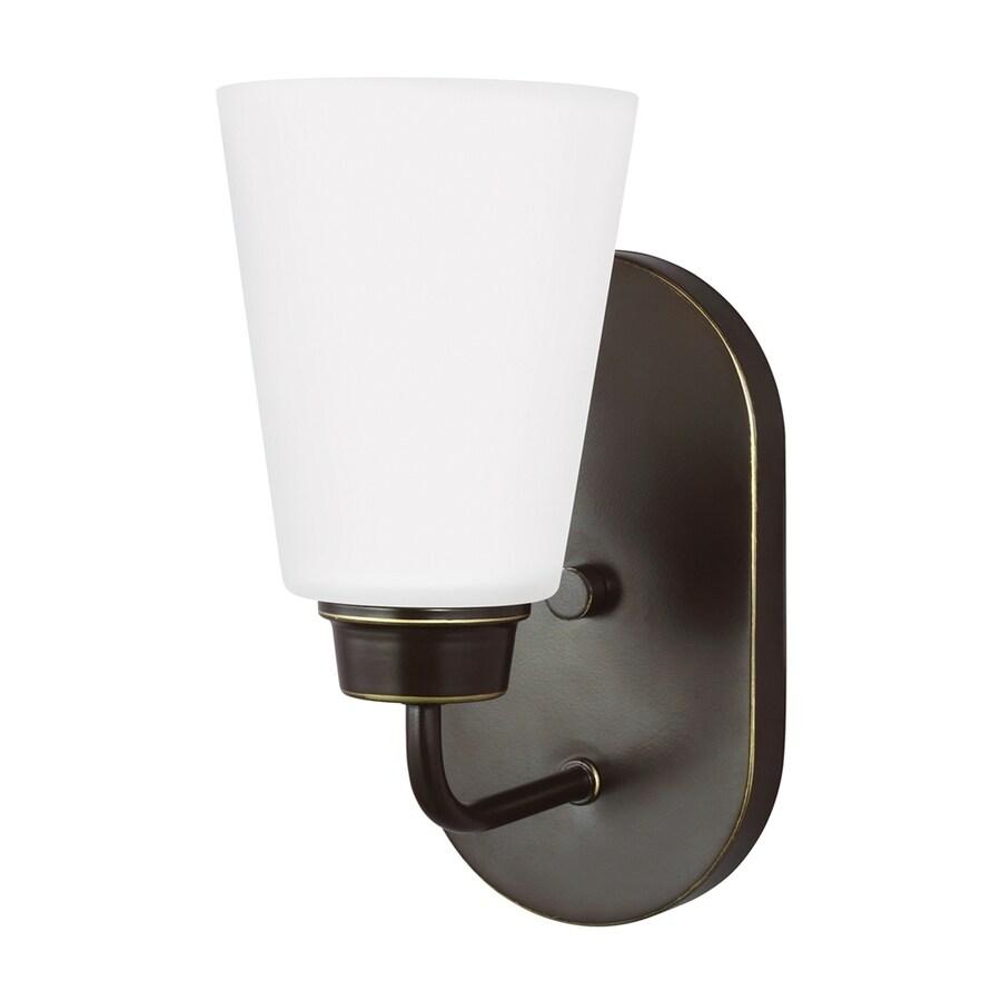 Sea Gull Lighting Kerrville 4.625-in W 1-Light Heirloom Bronze Arm LED Wall Sconce