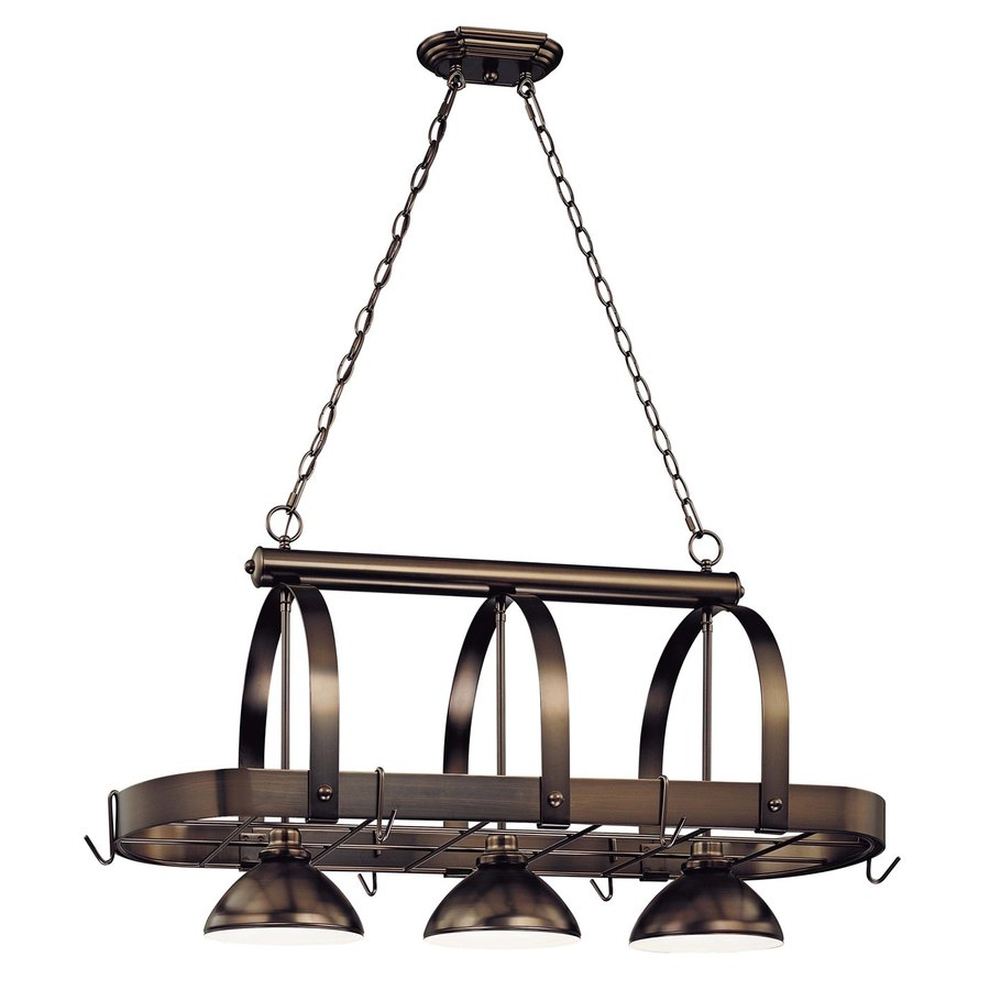 Volume International Hammerfest 16.25-in W 3-Light Antique Bronze Hardwired Lighted Pot Rack with Metal Shade