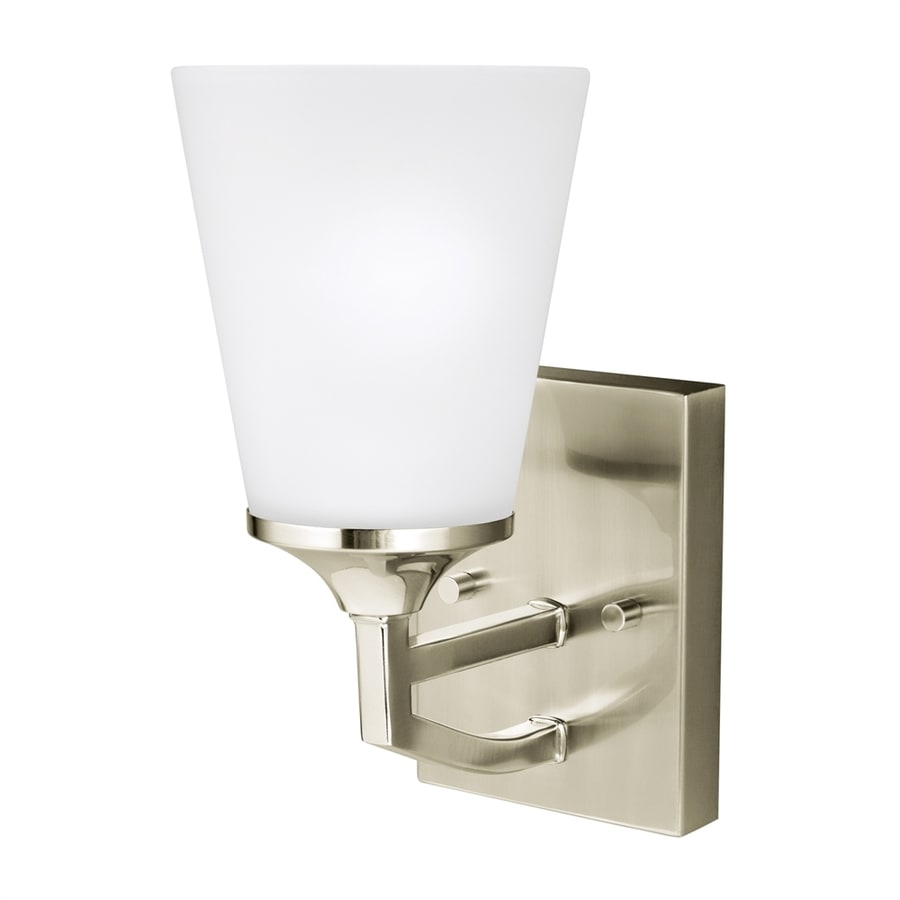 Sea Gull Lighting Hanford 5.125-in W 1-Light Brushed Nickel Arm LED Wall Sconce