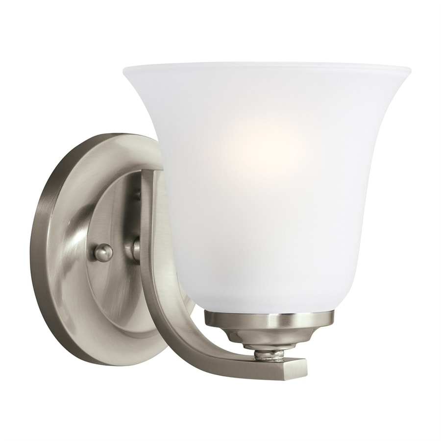 Sea Gull Lighting Emmons 5.875-in W 1-Light Brushed Nickel Arm Wall Sconce