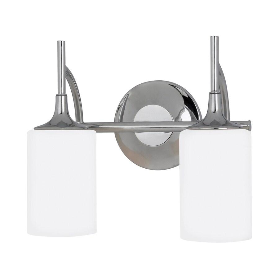 Sea Gull Lighting Stirling 2-Light 11.25-in Chrome Cylinder LED Vanity Light