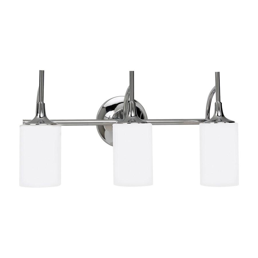 Sea Gull Lighting Stirling 3-Light 11.25-in Chrome Cylinder LED Vanity Light