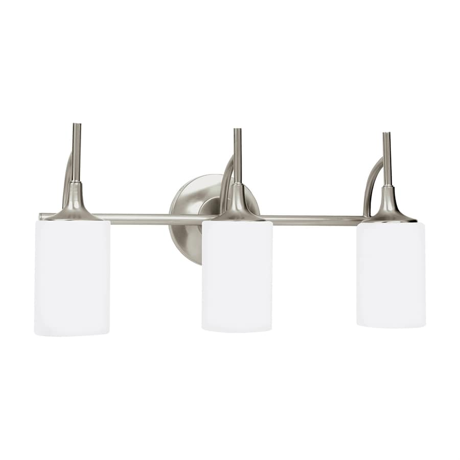 Sea Gull Lighting Stirling 3-Light 11.25-in Brushed Nickel Cylinder LED Vanity Light