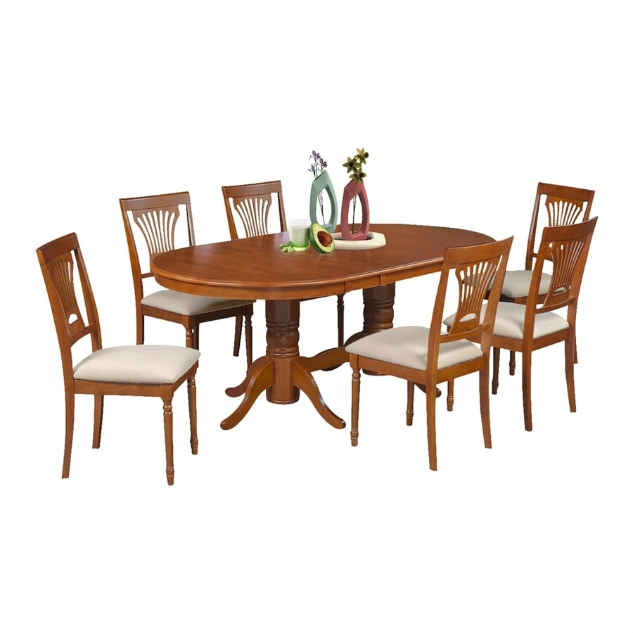 M&D Furniture Somerville Saddle Brown Dining Set with Oval Dining Table