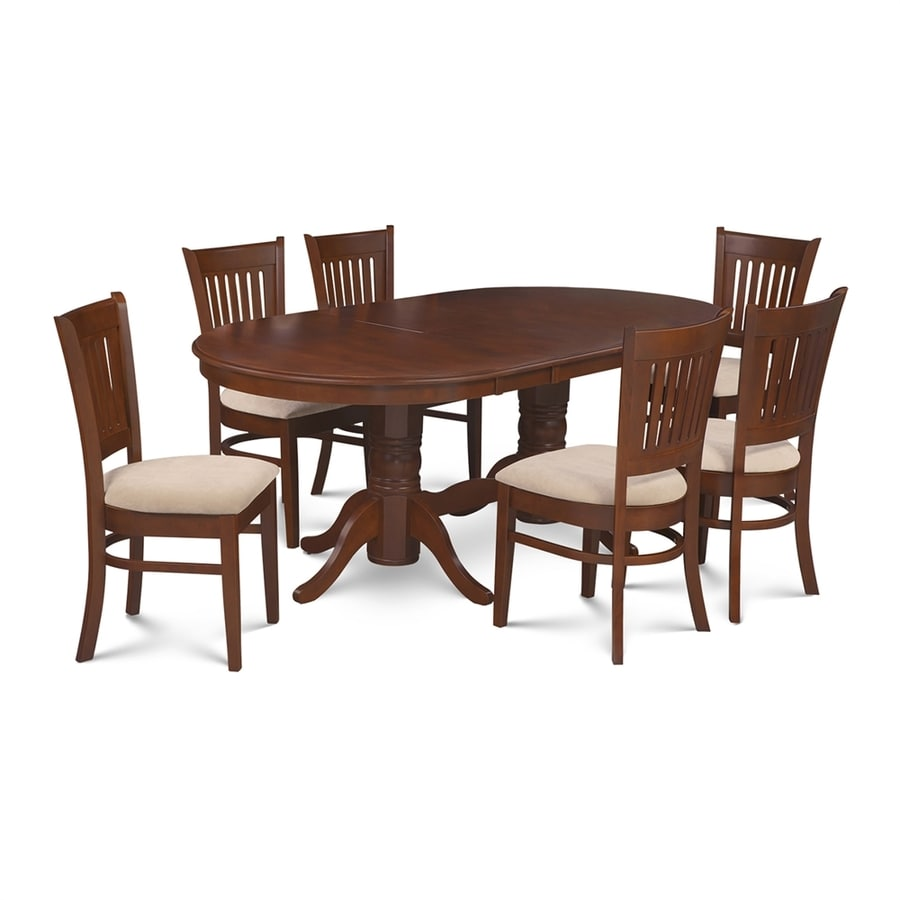 Shop m d furniture somerville espresso dining set with for Dining room tables lowes