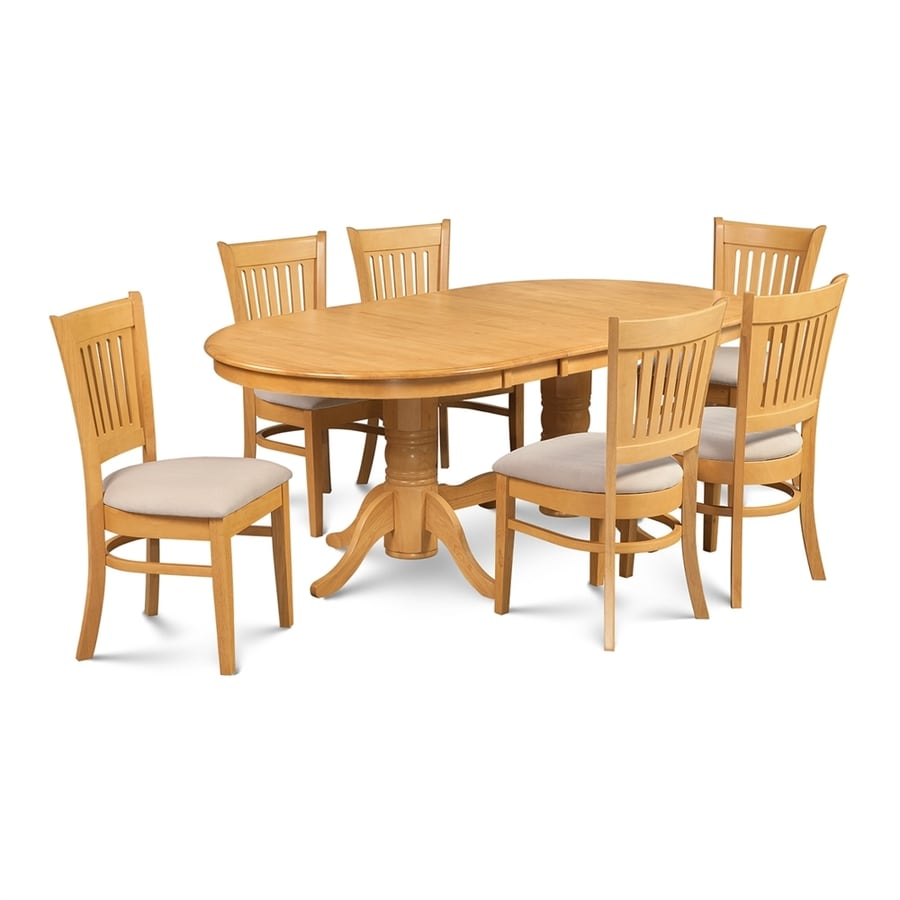 Shop m d furniture somerville oak dining set with oval for Dining room tables lowes