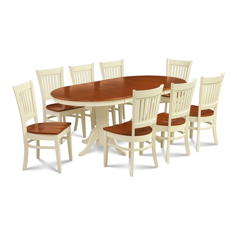 M&D Furniture Somerville Buttermilk/Cherry Dining Set with Oval Dining Table