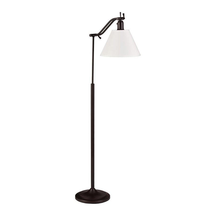 Boston Loft Furnishings Helmsworth 60.5-in Antique Bronze Swing-Arm Floor Lamp with Fabric Shade