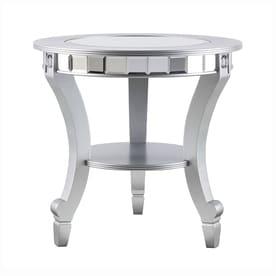 Boston Loft Furnishings Leyton Matte Silver Glass Glam End Table