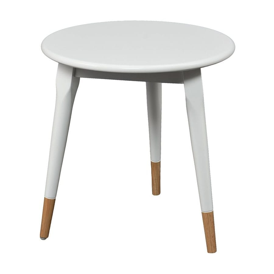 Boston Loft Furnishings Keeley White/Natural Rubberwood Round End Table