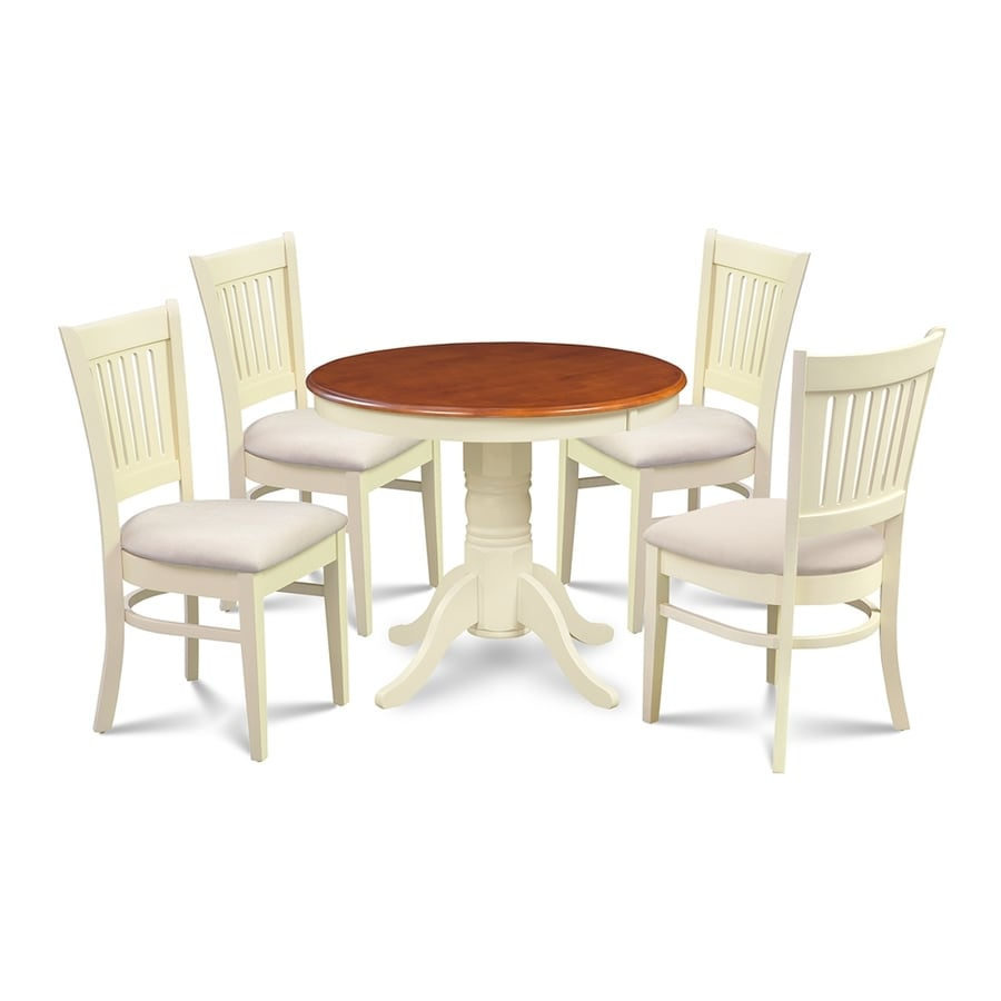 M&D Furniture Brookline Buttermilk/Cherry Dining Set with Round Dining Table