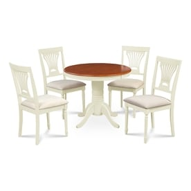 Mu0026D Furniture Brookline Buttermilk/Cherry Dining Set With Round Dining Table