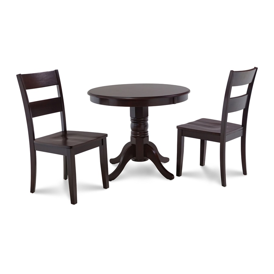M&D Furniture Brookline Cappuccino Dining Set with Round Dining Table