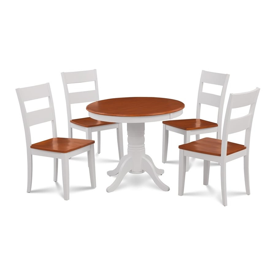 M&D Furniture Brookline White/Cherry Dining Set with Round Dining Table