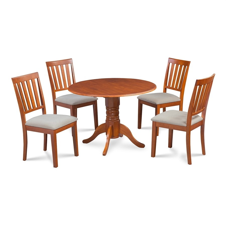 M D Furniture Burlington Saddle Brown Dining Set With Round Dining