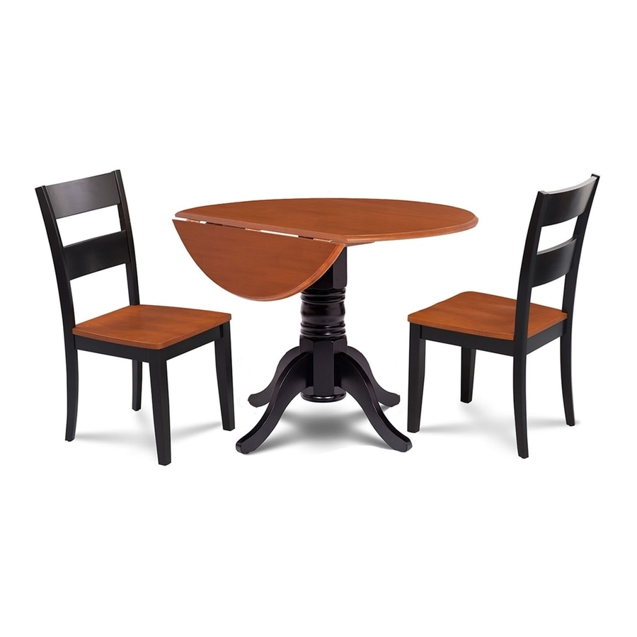 M&D Furniture Burlington Black/Cherry Dining Set with Round Dining Table