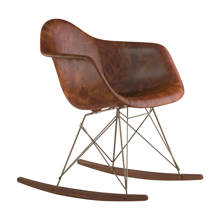 NyeKoncept Midcentury Weathered Whiskey/Walnut/Brushed Brass Genuine Leather Rocking Chair
