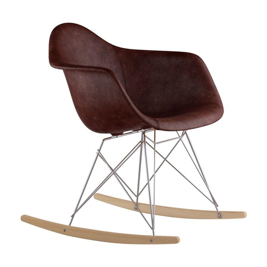 NyeKoncept Midcentury Aged Cognac/Natural Wood/Brushed Nickel Genuine Leather Rocking Chair
