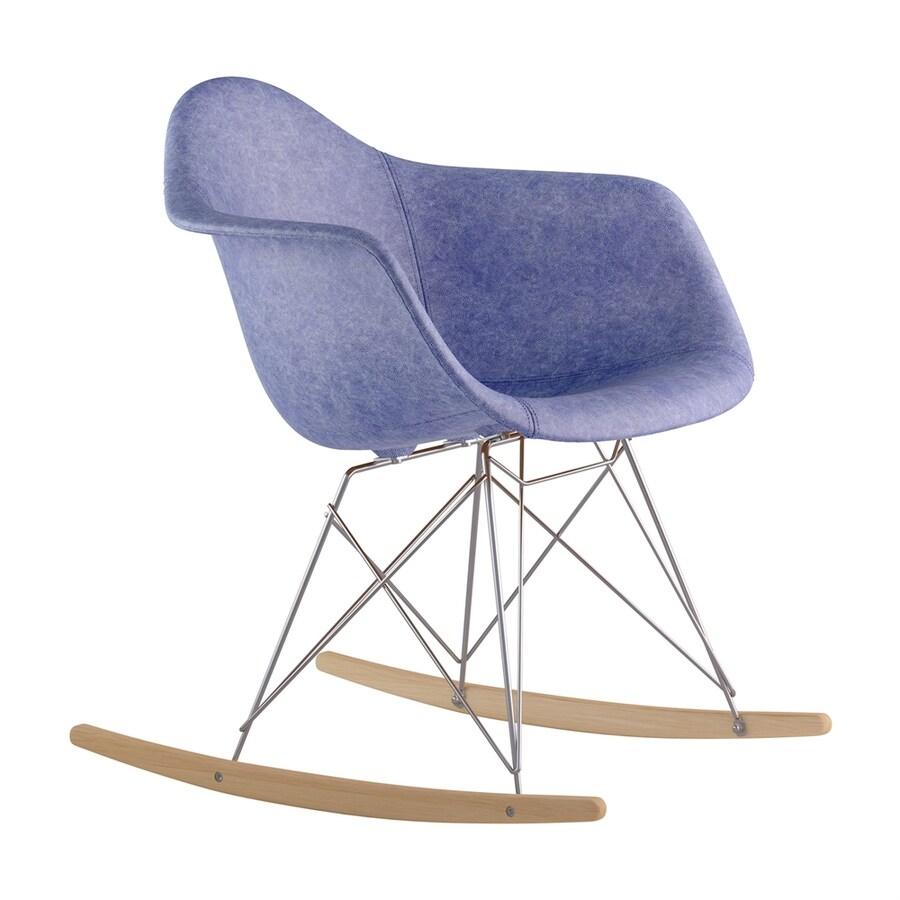 NyeKoncept Midcentury Weathered Blue/Natural Wood/Brushed Nickel Genuine Leather Rocking Chair